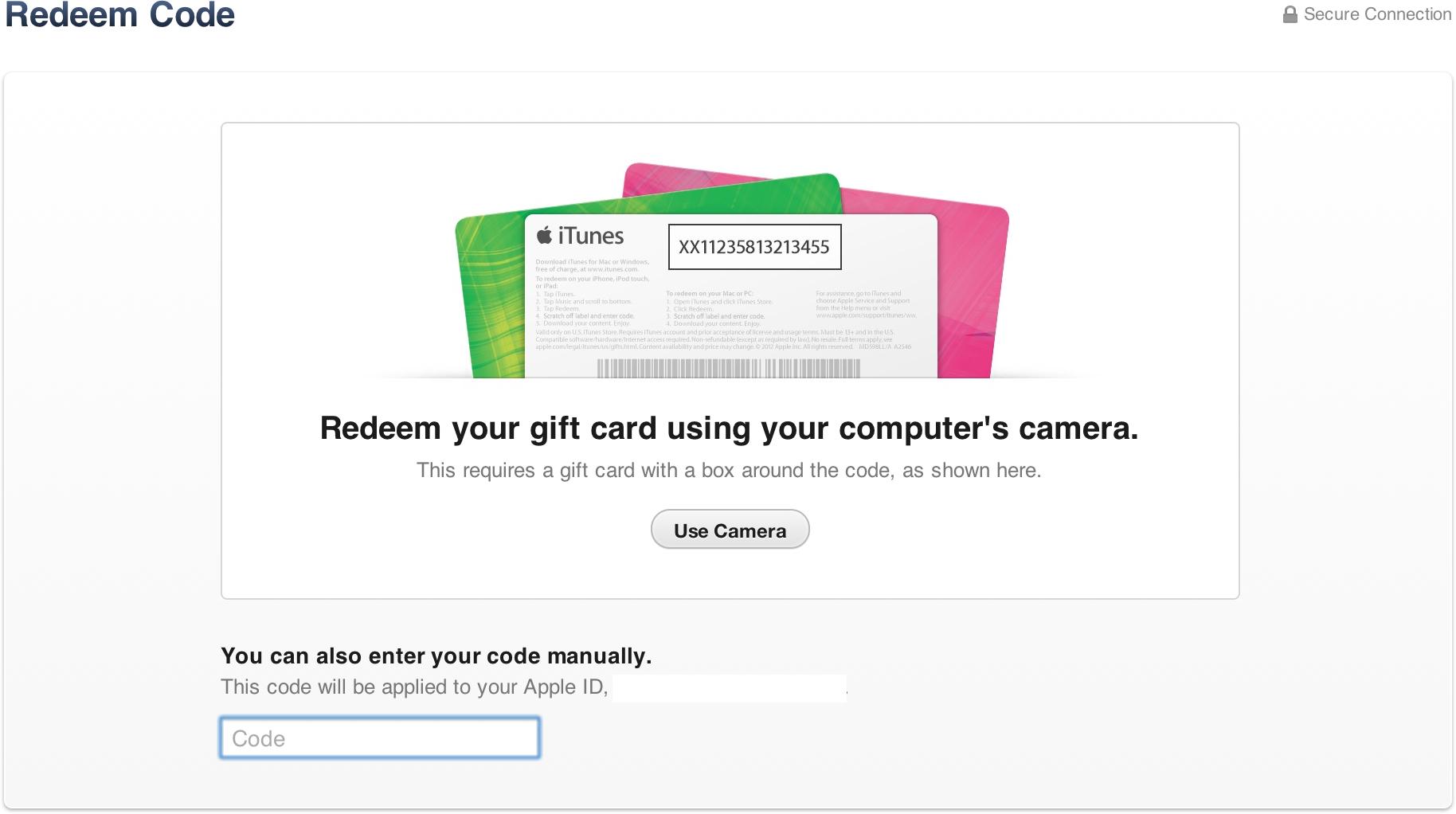 Redeem de iTunes Gift Cards pela câmera