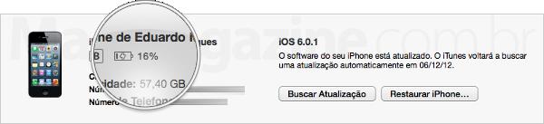 Porcentagem da bateria de iGadgets no iTunes 11