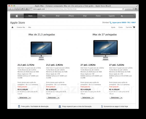 iMacs na Apple Online Store brasileira
