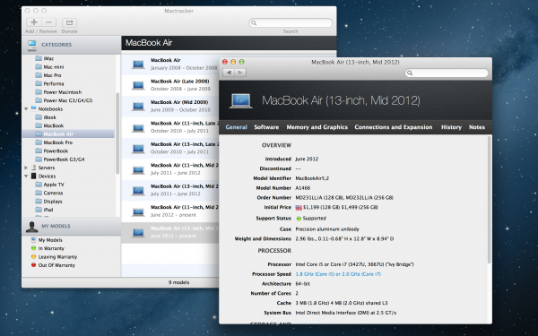 Mactracker - Mac OS X