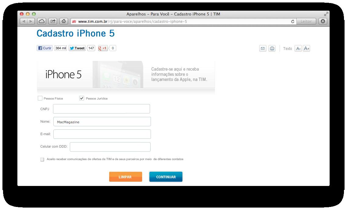Formulário da TIM para interessados no iPhone 5