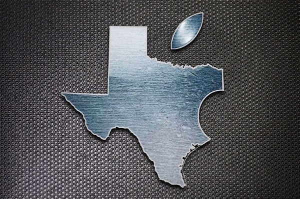 Mapa do Texas estilizado como logo da Apple