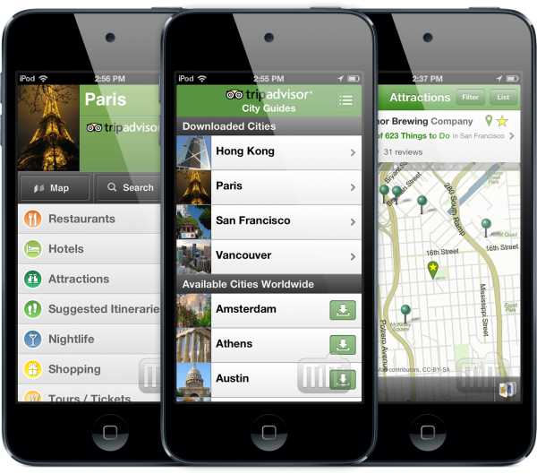 TripAdvisor Offline City Guides - iPods touch