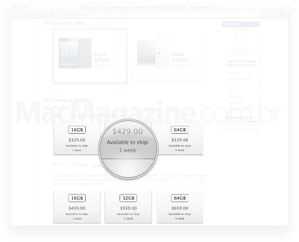 Prazo de entrega de iPads mini na Apple Online Store americana