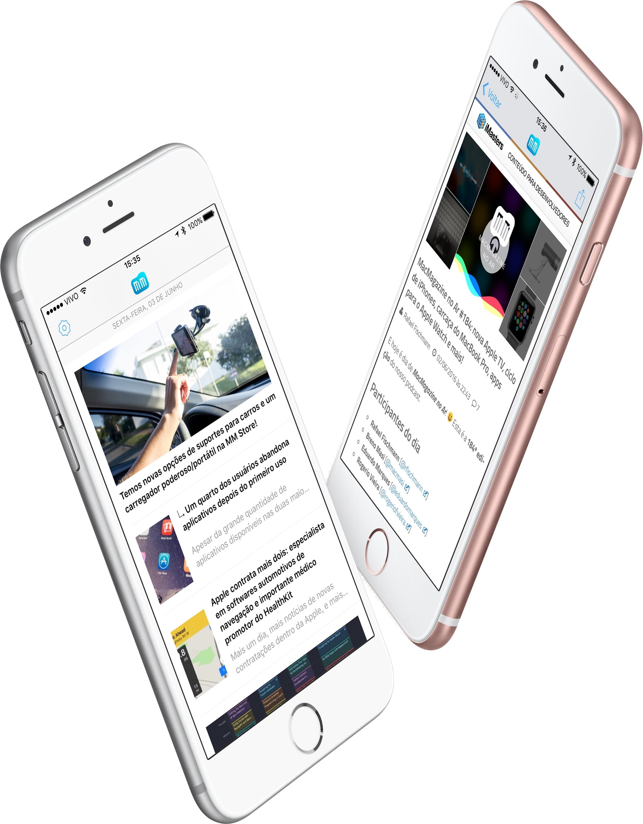 Screenshots do MacMagazine 3.0 em iPhones 6s (app/aplicativo)