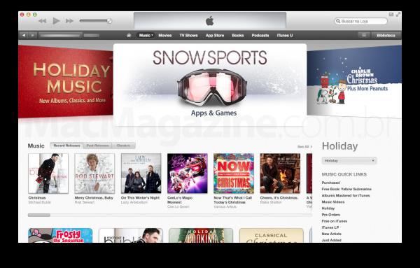 Banner destacando apps e jogos de esporte de neve na App Store