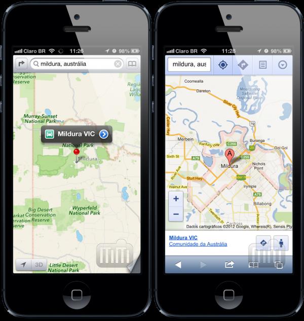 Mildura nos mapas da Apple e do Google