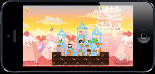 Jogo Angry Birds rodando num iPhone 5