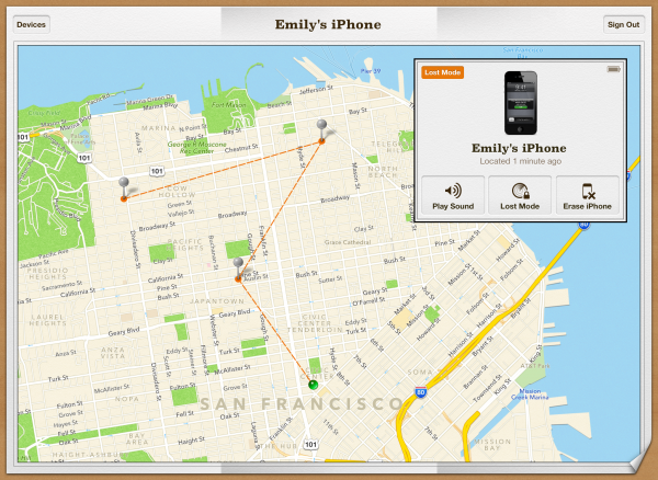 Itinerário no Buscar Meu iPhone