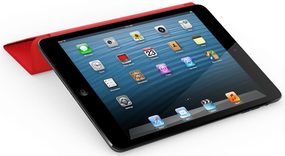 iPad mini com uma Smart Cover vermelha