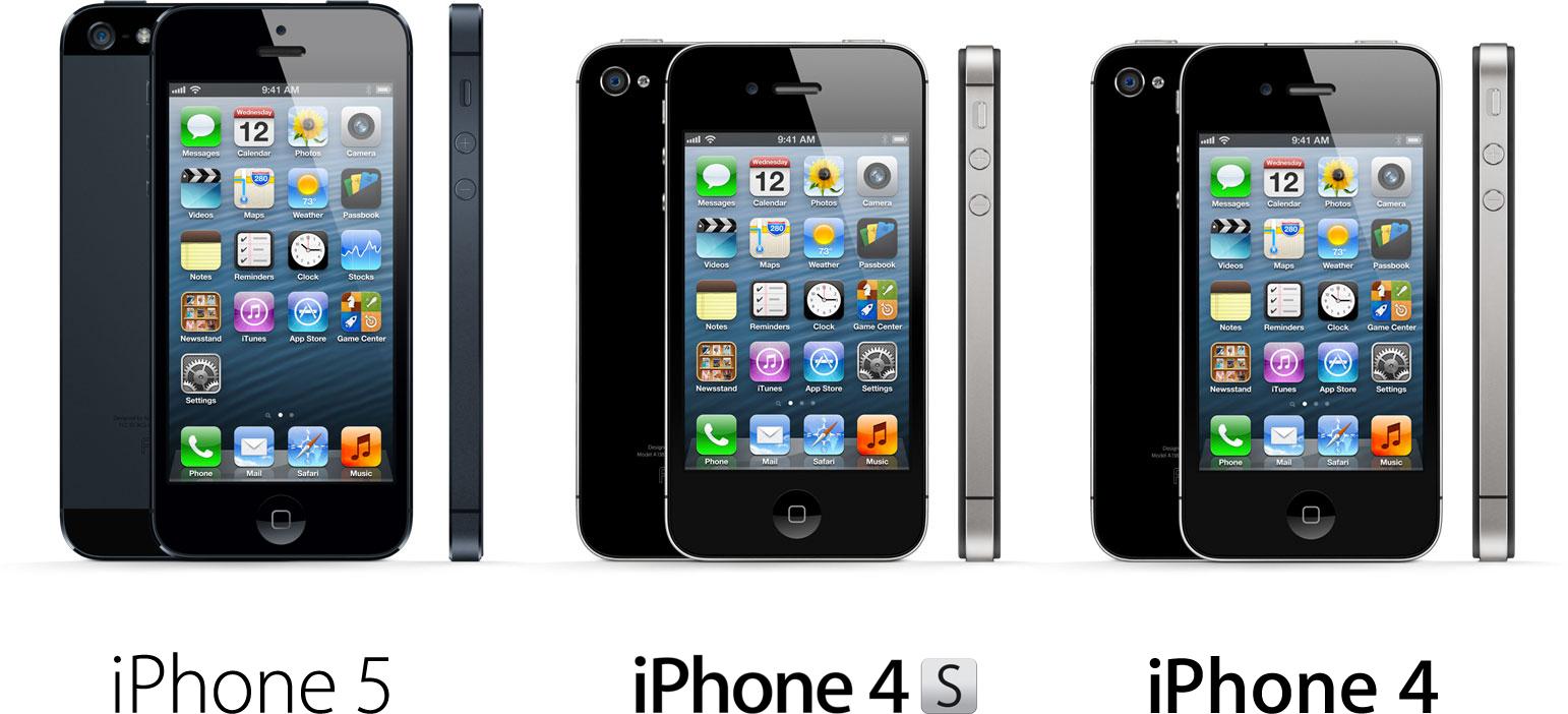 Família de iPhones - 5, 4S e 4