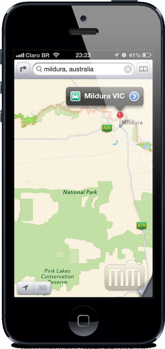 Mildura (Austrália) no mapa da Apple