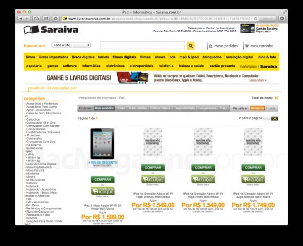 Saraiva começa a vender iPads de quarta geração