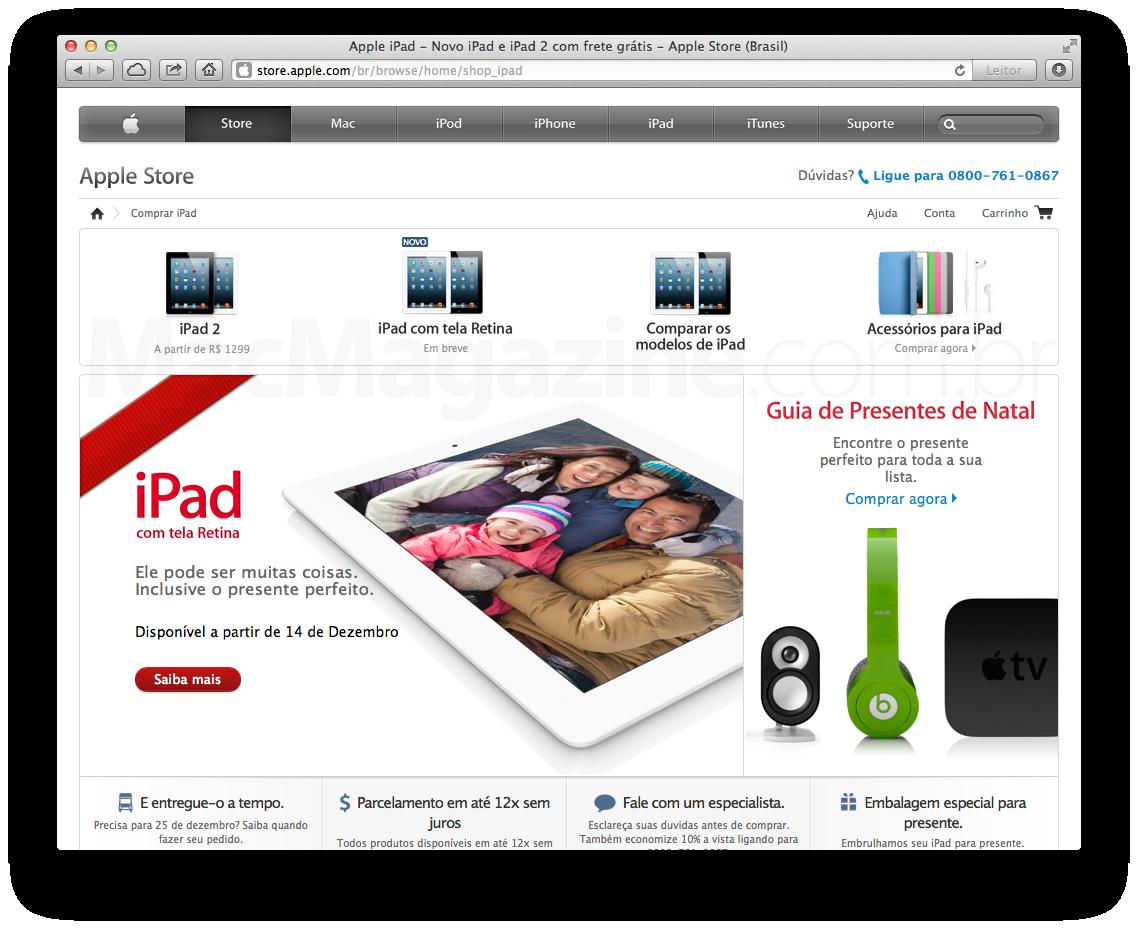 iPad de quarta geração na Apple Online Store