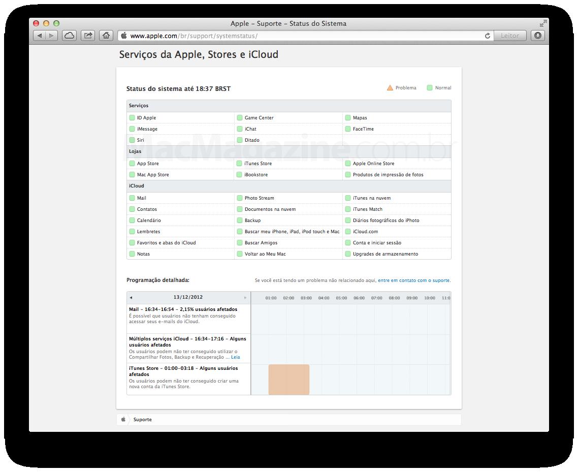Nova página da Apple com status dos serviços online