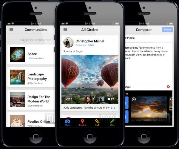 Google Plus em iPhones com fotos