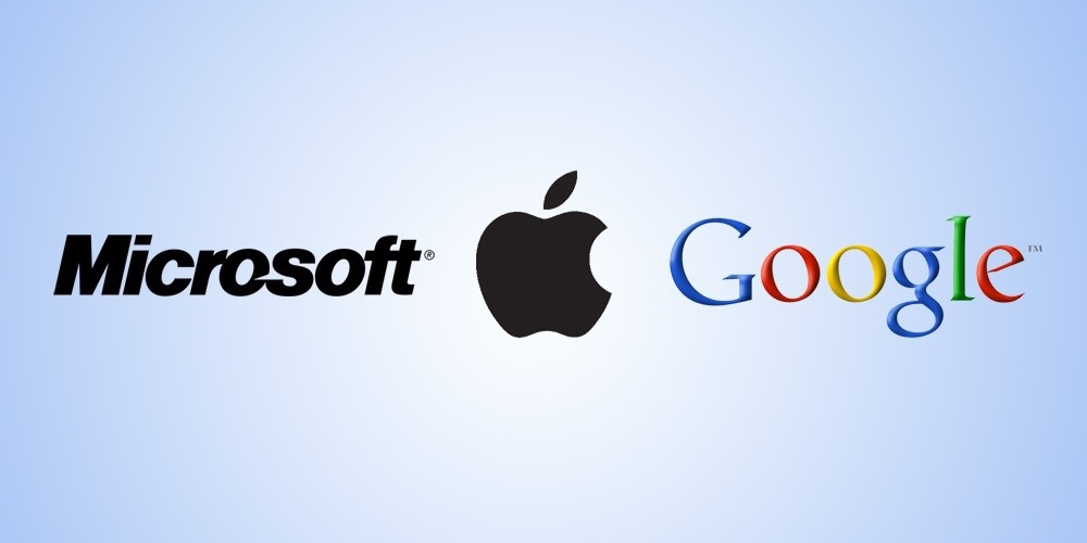 Logos - Microsoft, Apple e Google
