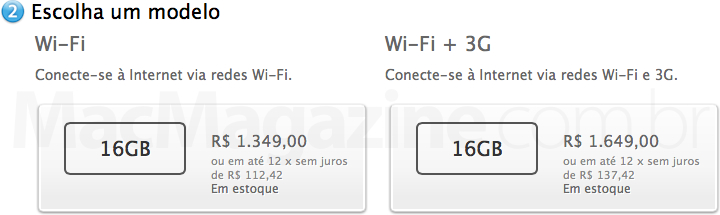 Preço do iPad 2