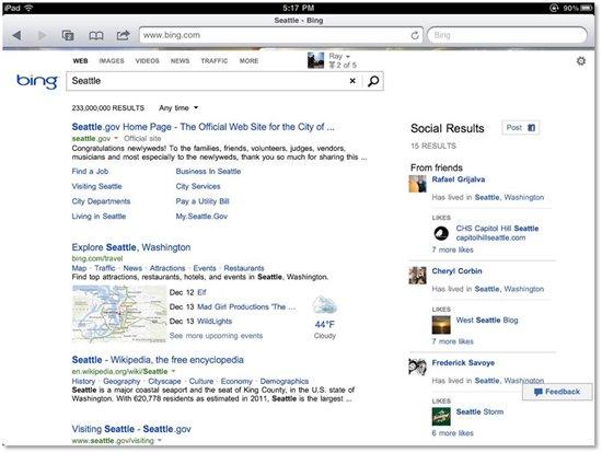 Sidebar do Bing no iPad