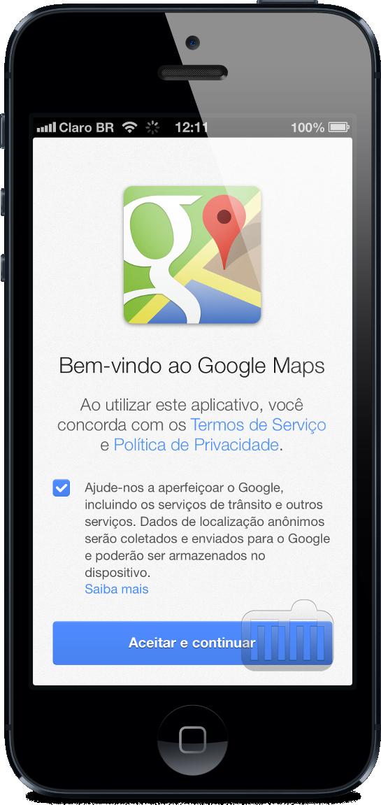 Termos de serviços do Google Maps