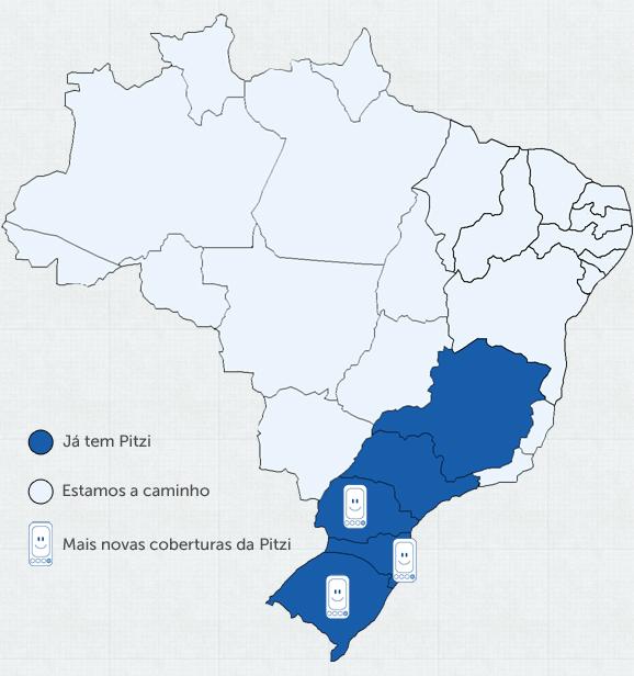 Mapa de cobertura da Pitzi
