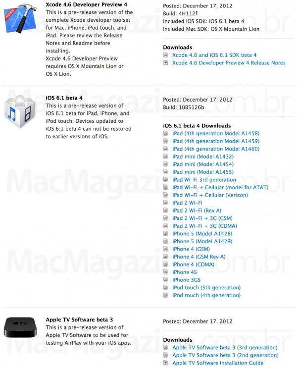 Novos betas da Apple