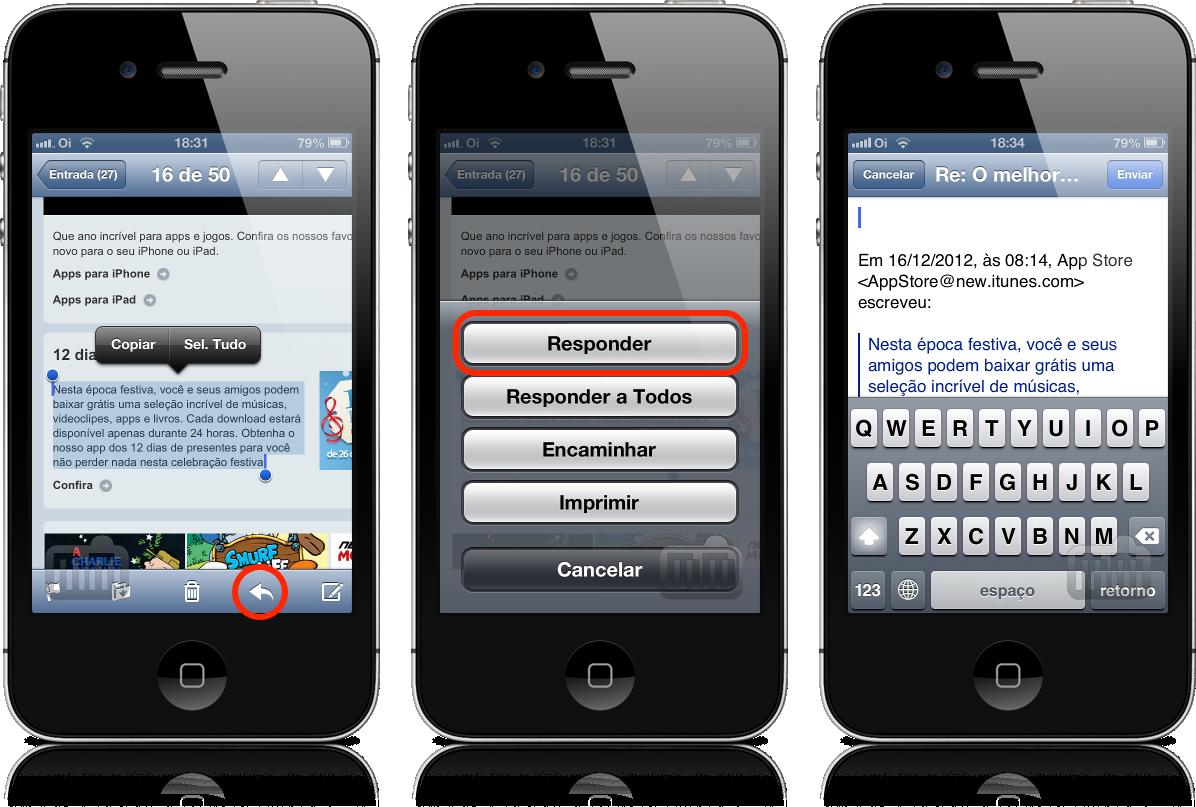 Citação em respostas por email no iOS