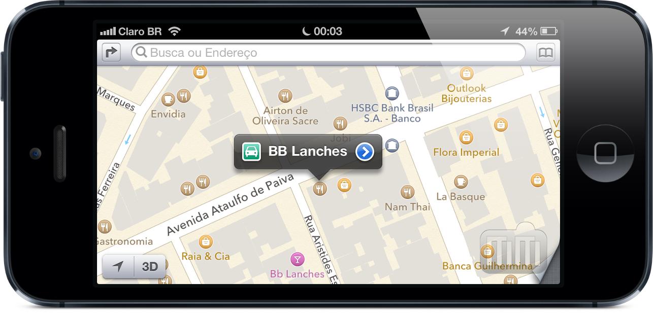 BB Lanches no mapa da Apple