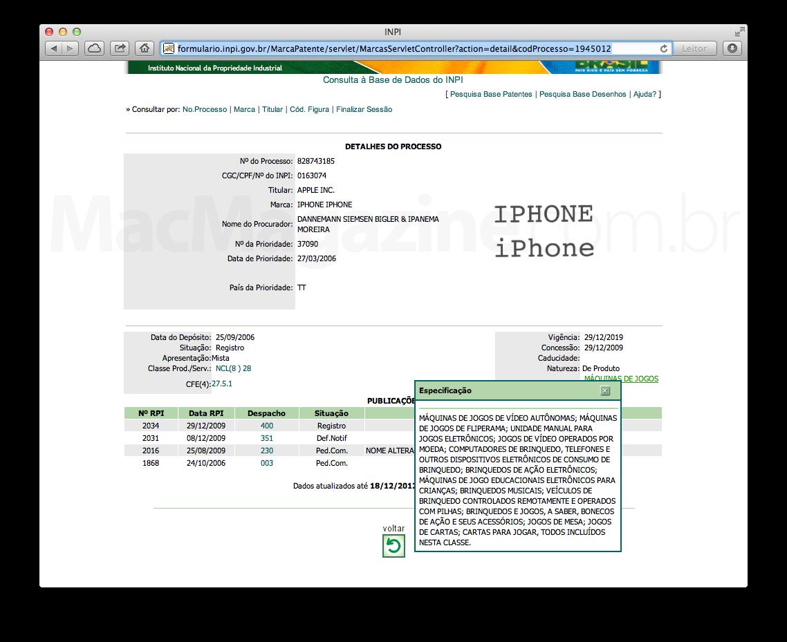 """Marcas """"IPHONE"""" no site do INPI"""