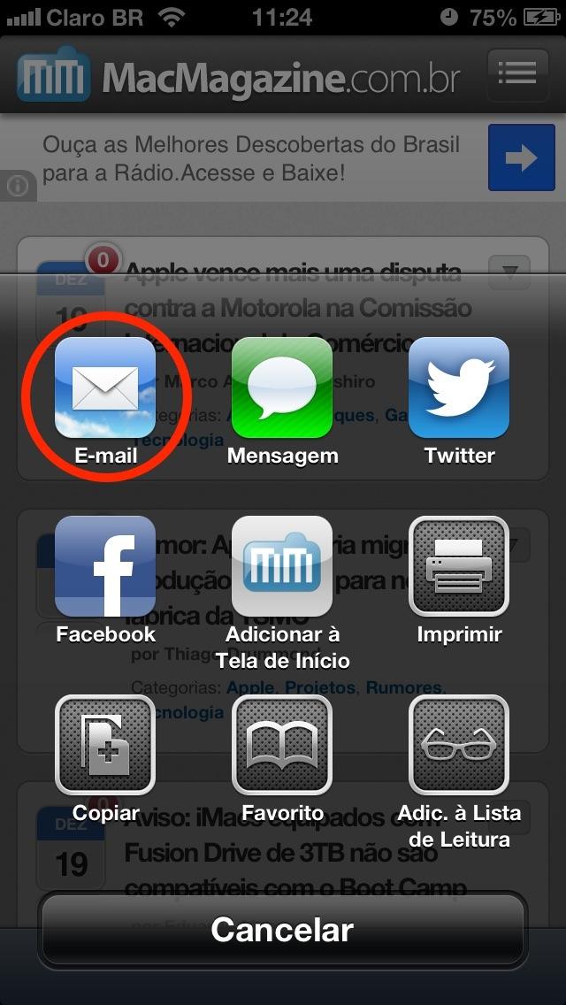 Enviando uma página pelo Mail (iOS)