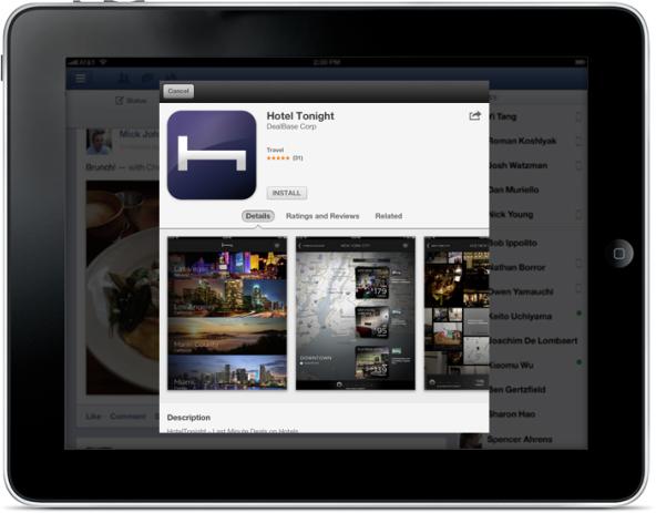Pop-up da App Store no Facebook