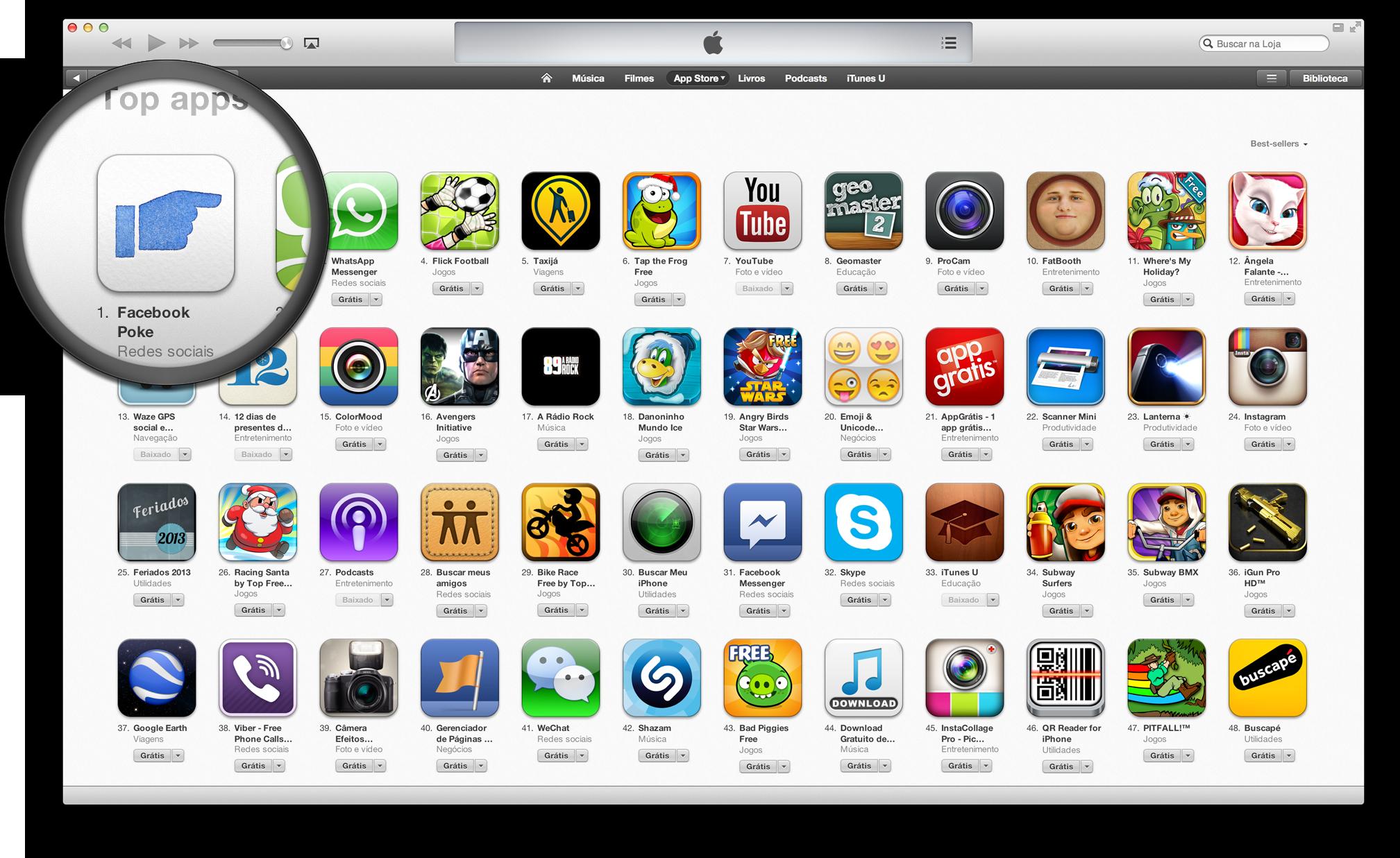 Facebook Poke no topo da App Store