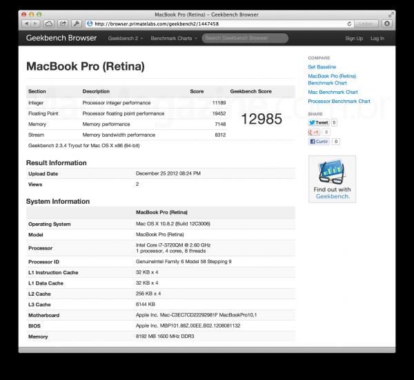 Geekbench no MacBook Pro Retina