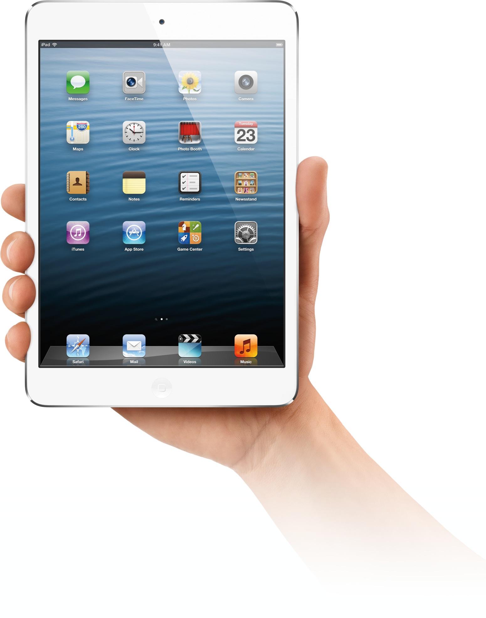 iPad mini segurado com uma mão
