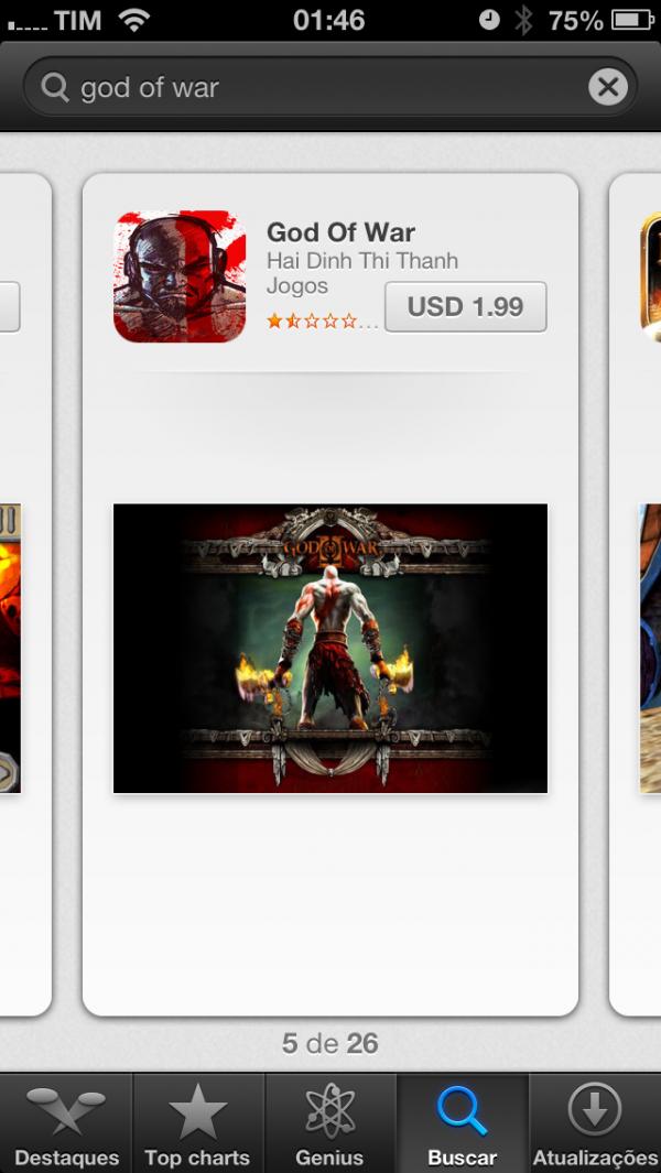 God of War falso na App Store