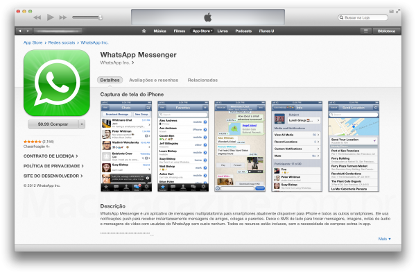 Screenshots na App Store - WhatsApp