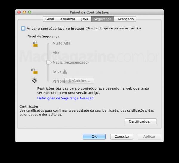 Painel de preferências do Java 7 no OS X