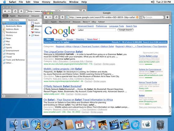 Versão antiga do Safari no Mac OS X