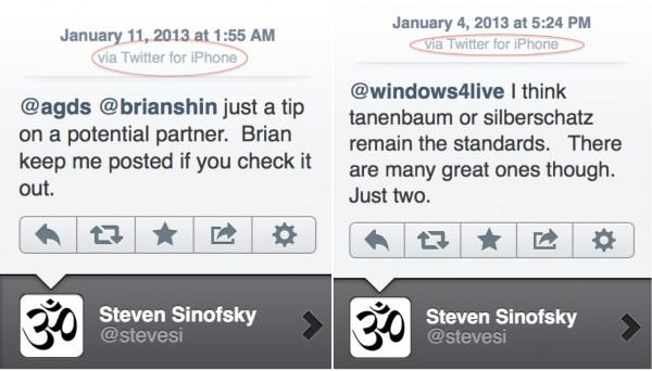 Steven Sinofsky tuitando de um iPhone