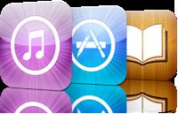 Ícones de lojas da Apple - iTunes Store, App Store e iBookstore
