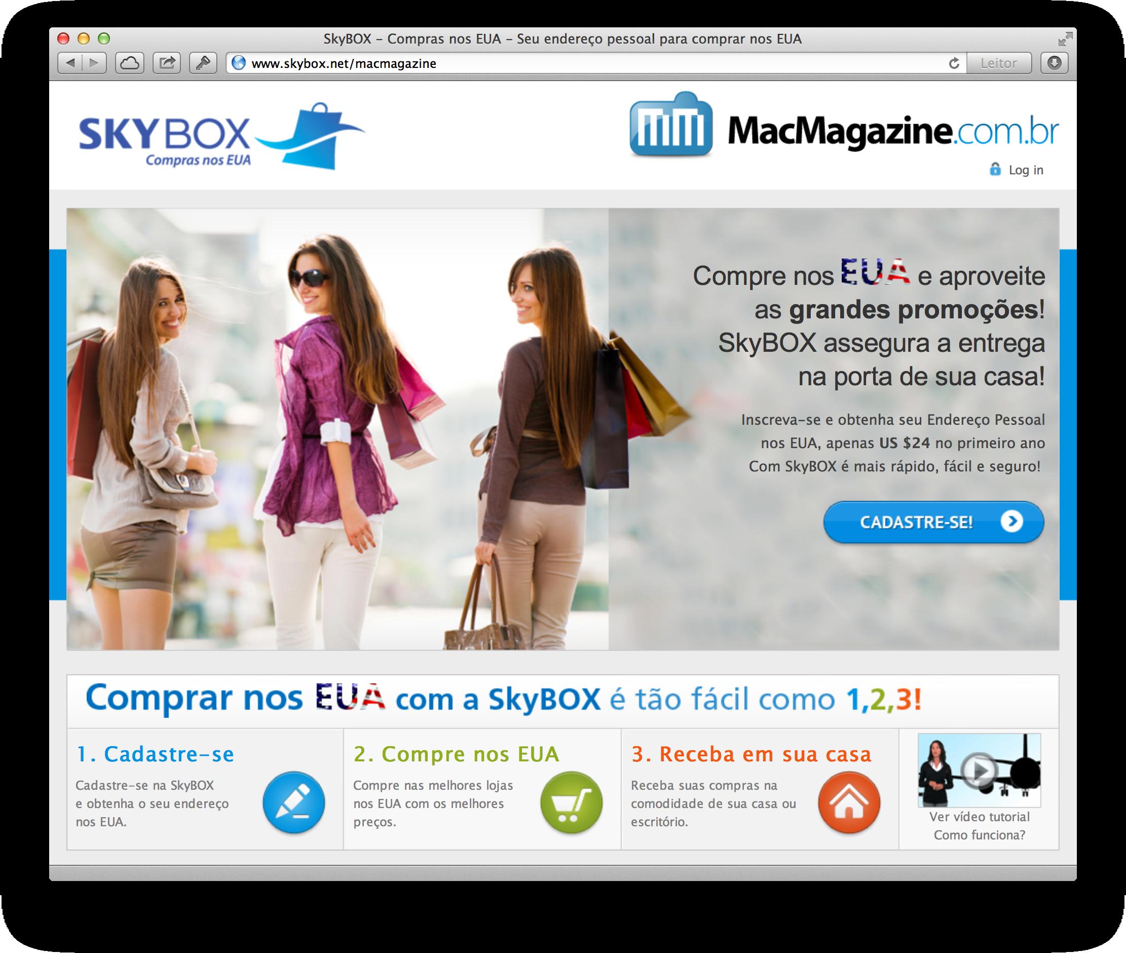 SkyBOX e MacMagazine no Safari