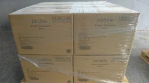 Caixas do Pebble prontas para despacho