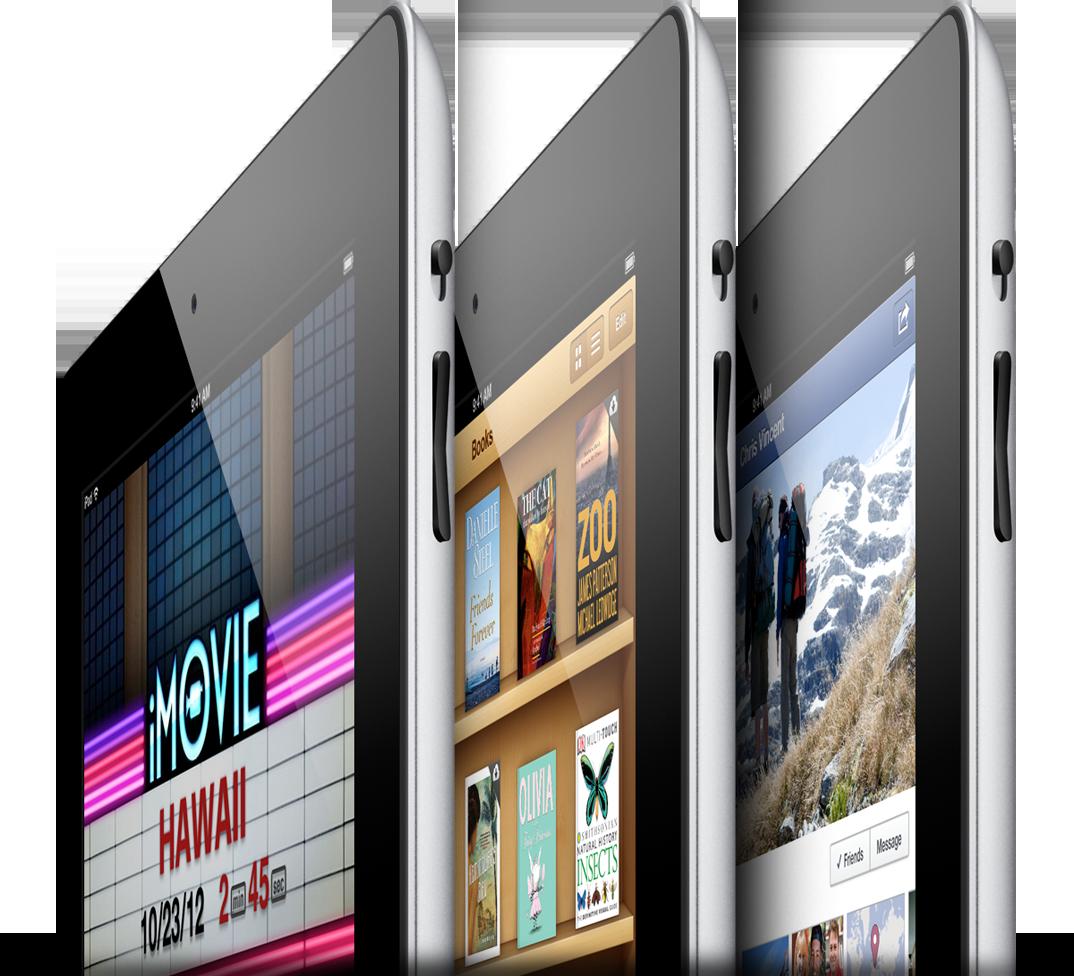 iPads de quarta geração de lado, com vários apps