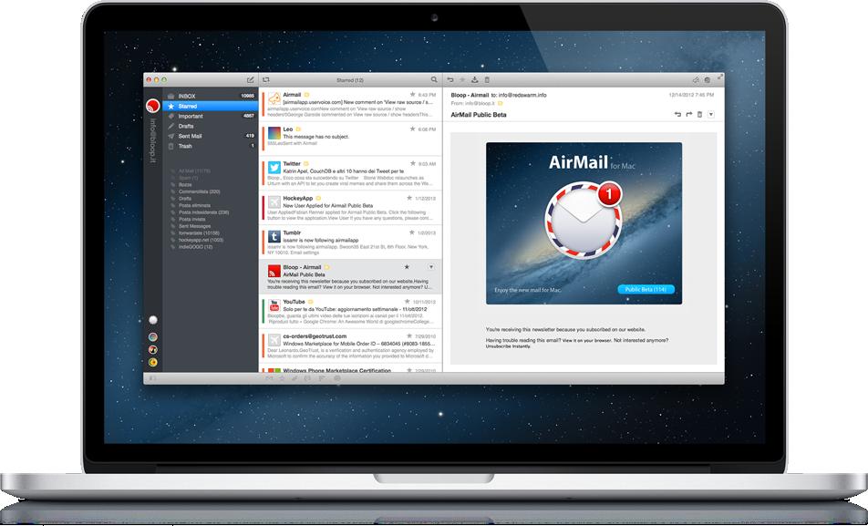 Airmail rodando em um MacBook Pro