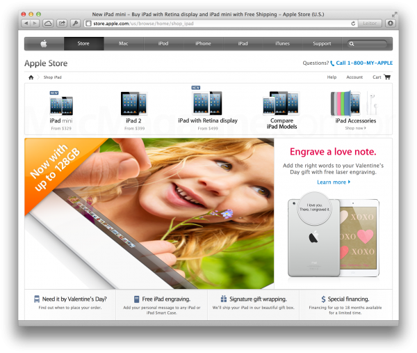 iPad de 128GB nos EUA