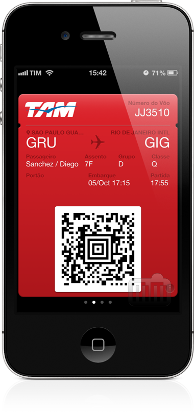 Passbook da TAM num iPhone 4S