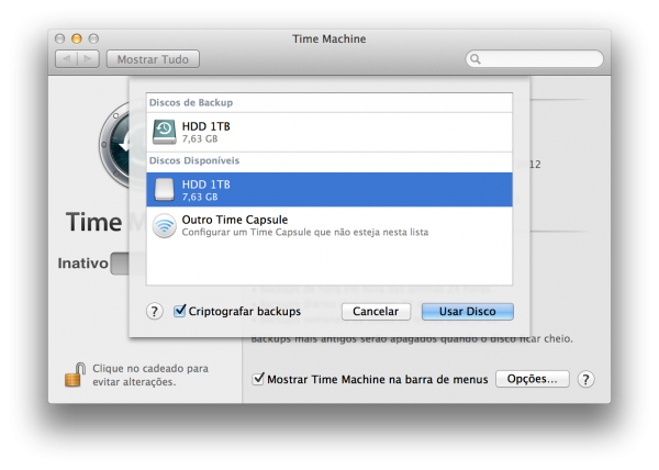 Criptografando backups do Time Machine
