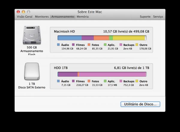 Espaço ocupado no Mac