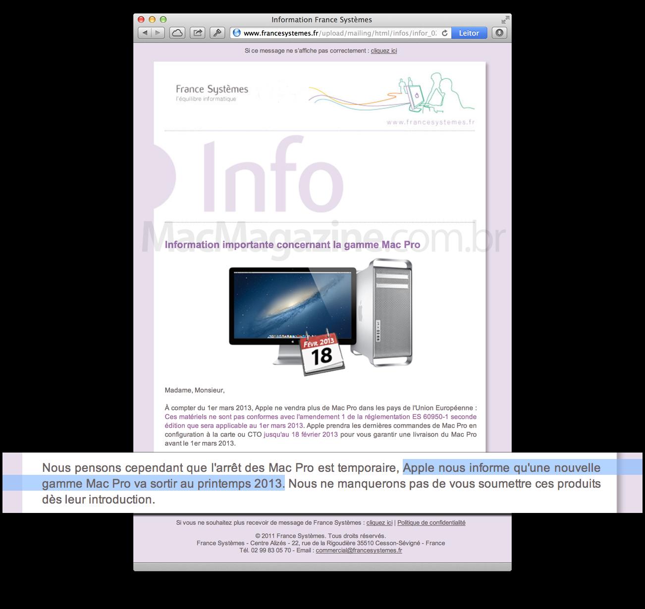 Newsletter de revenda francesa sobre o novo Mac Pro