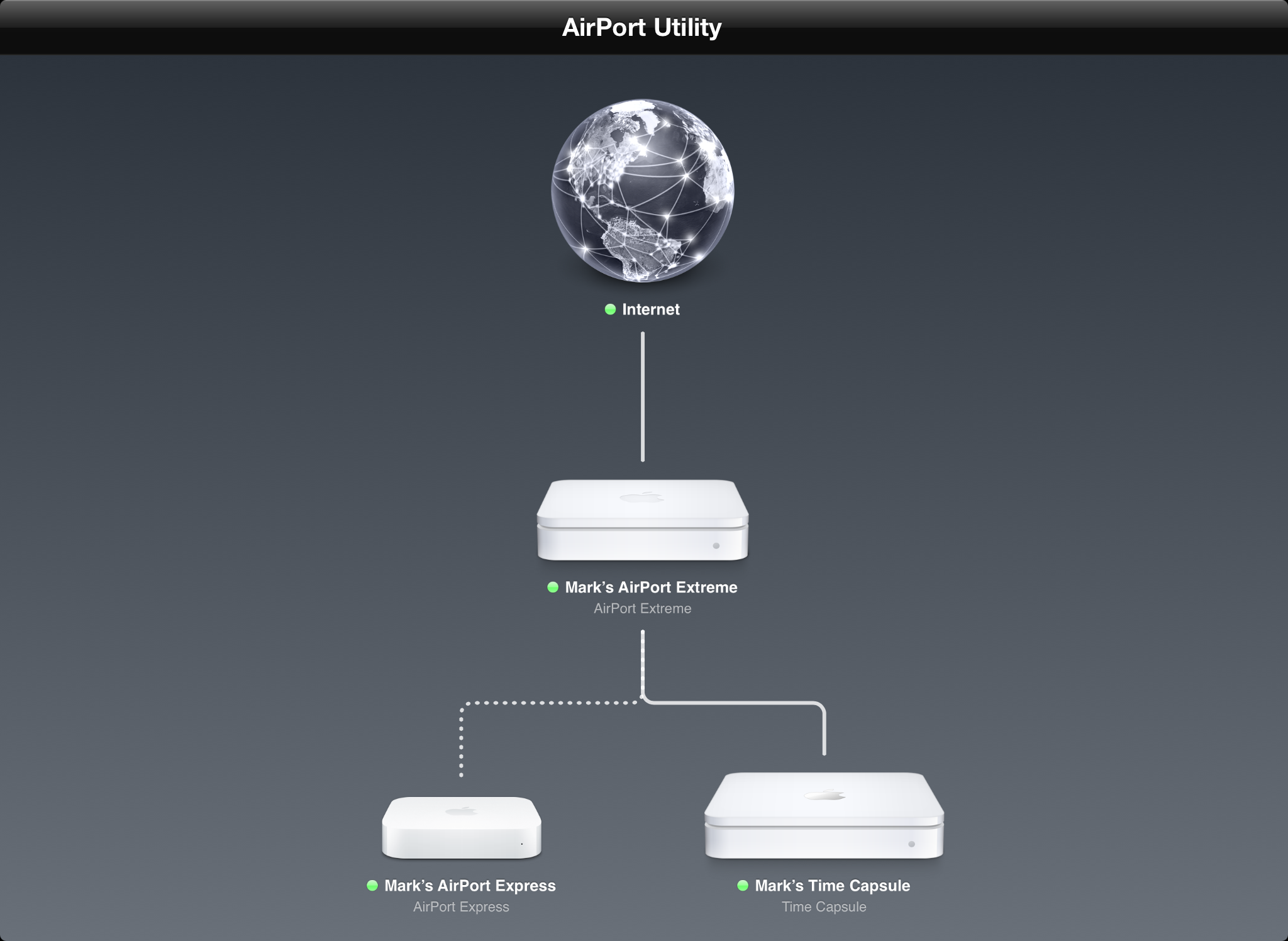 Utilitário AirPort rodando num iPad